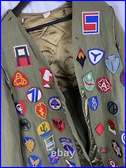 Original Wwii US Army Jacket Liner Covered Patches Patchwork Blanket