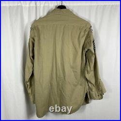Original Wwii US Army Patched Tropical Shirt Theatre Made Cloth CBI Patch