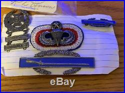 Original ww2 us army 11th airborne named grouping jump wings, pocket knife, dogtag