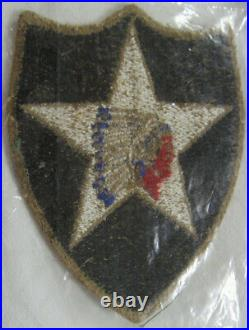 PUS012 WW2 US Army 2nd Infantry Division OD Border Patch Greenback Patch