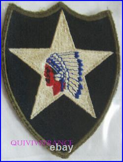 PUS013 WW2 US Army 2nd Infantry Division OD Border Patch total Greenback Patch