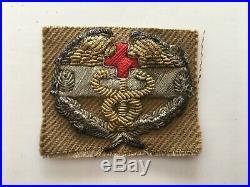 Pk110 Original WW2 US Army Combat Medics Badge On Tan Heavy Cloth 1945 WB11