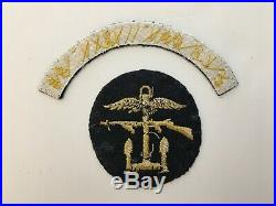 Pk46 Original WW2 US Army OSS 3rd Contingent OG Combined Operations Patch WC10