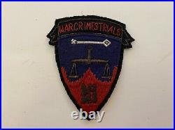 Pk809 Original WW2 US Army Nurnberg War Crimes Trails Patch Attached Tab L2B
