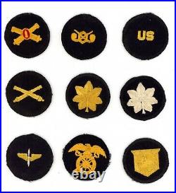 Pre to WW2 WWII US Army black cap patches 9x total lot