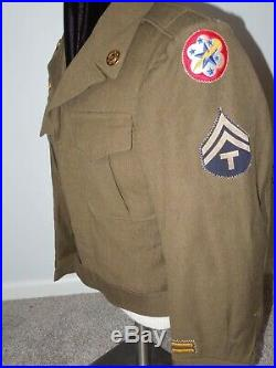 RARE WWII 35th Transportation Corps Service Group Patch & Ike Jacket US Army