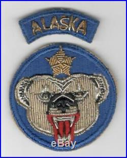 Rare Gemsco Bullion WW 2 US Army Alaskan Department Patch & Tab Inv# P268