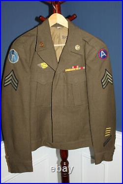 Rare Original WW2 U. S. Army Custom Kiska Task Force Patched Ike Jacket, 1944 d
