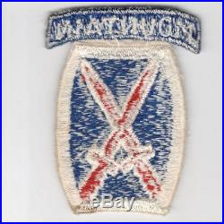 Rare Theater Made US Army 10th Mountain Division Patch with Attached Tab Inv# F607