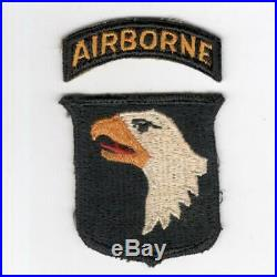 Rare Type 12 WW 2 US Army 101st Airborne Division Patch & Tab Inv# H736