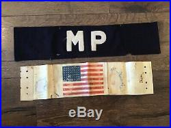 Rare US WWII D-Day Landing Army Paratrooper Arm Band & MP Normandy Invasion