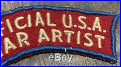 Rare WW2 Official U. S. A. War Artist US ARMY MILITARY Tab British Made Patch