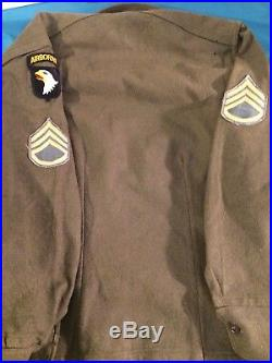 Rare WW2 US Army 101st Airborne Eagle Paratrooper Wool Shirt With Patches Nice