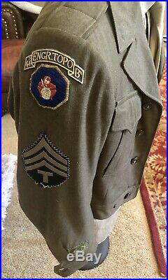 Rare WWII 64th Engineer Topographic Battalion Patch Tab Tunic Japanese US Army
