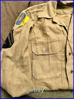 Scarce WWII US Army 4th Cavalry Regiment Uniform Grouping With Wool Patches