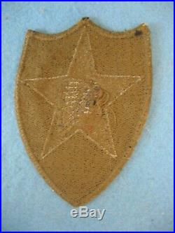 Scarce original used WWII US Army 2nd Infantry Div. OD border greenback patch