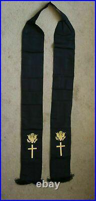 Superb Ww2 Vietnam Era Us Army Chaplain Stole Sash Excellent Re Enactment