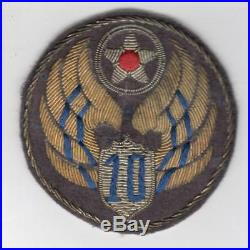 Theater Made WW 2 US Army 10th Air Force Bullion Patch Inv# Z758
