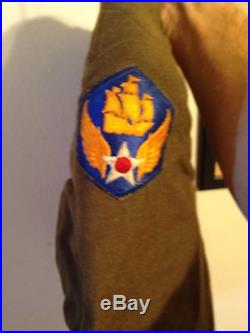US 6th Army Air Force Ike Jacket Officer Tunic WWII With Patches Pins AAF AAC 34R