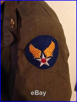 US 6th Army Air Force M1943 Ike Jacket Tunic WWII With Patches Pins AAF AAC 34 R