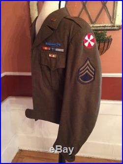 US ARMY WW2 KOREAN WAR IKE SERVICE CROP Jacket 36L UNIFORM WOOL PATCHES PINS