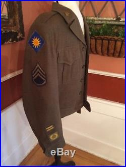 US ARMY WW2 KOREAN WAR IKE SERVICE CROP Jacket 36L UNIFORM WOOL PATCHES PINS