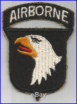 US Army 101st Airborne Division White AIRBORNE Patch With Attached Tab Inv# G517