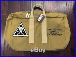 US Army AAF WW2 EASTMAN PILOT KHAKI AVIATOR'S KIT BAG with patch Flight Jacket