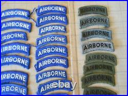 US Army AIRBORNE TAB LOT of 92! Subdued, YellowithBlack, Blue/White Vietnam WWII Vtg