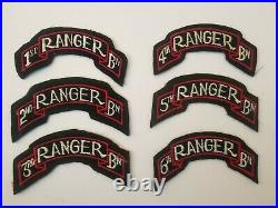 US Army Ranger Scrolls 1st 2nd 3rd 4th 5th 6th Rangers WWII Felt with Cheesecloth