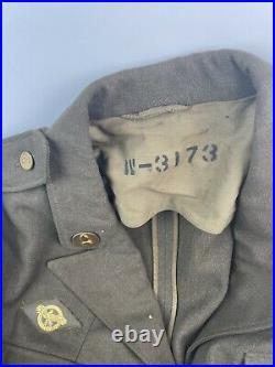 US WW2 AAC Army Air Corps Force Uniform Jacket With Patches & Hat