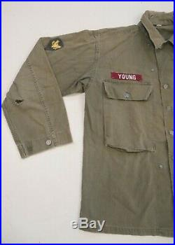 US WW2 Army HBT Jacket 13 Star Button P43 1943 WWII With Patches