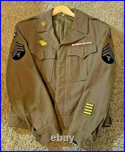 US WWII Army XV Corp Ike Uniform Jacket With Patches Technician Size 38R 1944