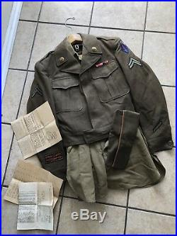 U. S Army WWII 1946 Official Photographer Uniform Ike Jacket/ Photo/ Patches/pin