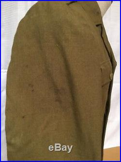 U. S. WWII WW2 Army Engineer Mens Uniform Jacket With Patches SIZE 37R War Wounds