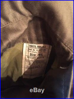 Us Army Ww2 Korean War Ike Jacket Service Crop 36l Uniform Wool Patches Pins