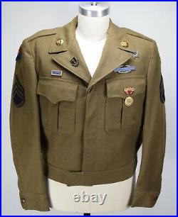 VINTAGE 1940S US ARMY WOOL IKE With MEDALS PATCH JACKET MENS 40 WWII MINT
