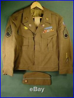 VINTAGE WWII US ARMY IKE EISENHOWER UNIFORM JACKET With METALS & PATCHES SZ 40S