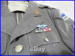 VTG WWII US ARMY UNIFORM JACKET With Patches Medals & TANKER GOGGLES Wool Sz 36 R