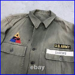 Vintage HBT jacket WW2 13 Star Buttons P41 M43 US Army Size 44 L / XL Patches