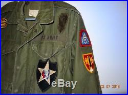 Vintage Men's 1940s WWII US Army M-43 Field Coat Jacket Regular Small With Patches