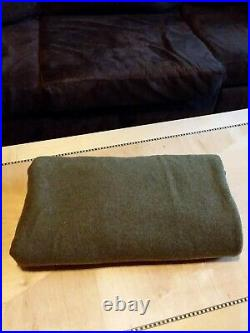 Vintage Military Blanket WW2 US Wartime Army Green Wool 66x79