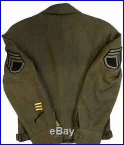Vintage Original 1944 WWII US Army Ike Eisenhower Field O. D. Jacket 34R Patches