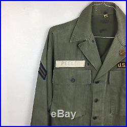 Vintage Original Korean Vietnam War WWII Us Army Combat Shirt Patches Button