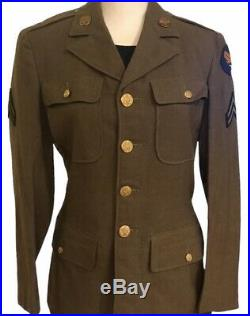 Vintage Original WWII US Army Air Corps Wool Dress Jacket With Patches Small