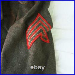 Vintage US Army Green Wool Trench Coat World War Two WWII with Patches