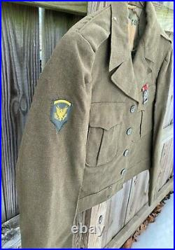 Vintage US Army WWII M-1949 Officers Ike Jacket with Patches and Medal 1949