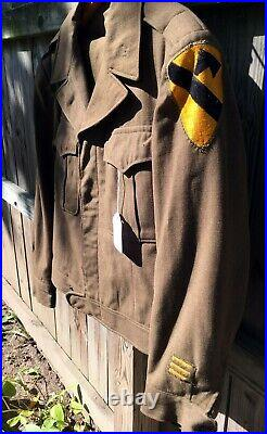 Vintage US Army WWII Officer's Wool Ike Jacket and Pants 1st Cavalry Patch 1944