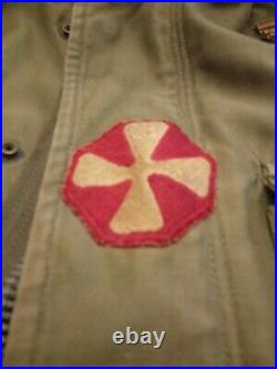 Vintage WORLD WAR II US Army Military M-1943 Field Jacket WWII with Patches