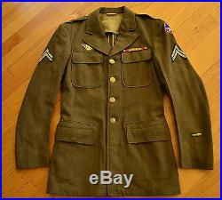 Vintage WWII Era Dated 1943 US Army CORPORAL Wool Coat Patches Ribbons Size 37 L